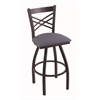 "Holland Bar Stool Co. 820 Catalina 25"" Counter Stool with Black Wrinkle Finish, Rein Bay Seat, and 360 swivel"