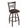 "820 Catalina 30"" Bar Stool with Black Wrinkle Finish, Rein Coffee Seat, and 360 swivel"