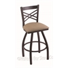 "Holland Bar Stool Co. 820 Catalina 30"" Bar Stool with Black Wrinkle Finish, Rein Thatch Seat, and 360 swivel"