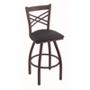 "820 Catalina 36"" Bar Stool with Bronze Finish, Allante Dark Blue Seat, and 360 swivel"