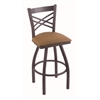 "820 Catalina 30"" Bar Stool with Pewter Finish, Allante Beechwood Seat, and 360 swivel"