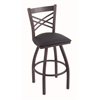 "820 Catalina 36"" Bar Stool with Pewter Finish, Allante Dark Blue Seat, and 360 swivel"