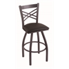 "820 Catalina 36"" Bar Stool with Pewter Finish, Allante Espresso Seat, and 360 swivel"