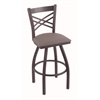 "820 Catalina 36"" Bar Stool with Pewter Finish, Allante Medium Grey Seat, and 360 swivel"