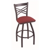 "820 Catalina 36"" Bar Stool with Pewter Finish, Allante Wine Seat, and 360 swivel"