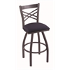 "820 Catalina 36"" Bar Stool with Pewter Finish, Axis Denim Seat, and 360 swivel"