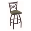 "820 Catalina 30"" Bar Stool with Pewter Finish, Axis Grove Seat, and 360 swivel"