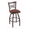 "820 Catalina 36"" Bar Stool with Pewter Finish, Axis Paprika Seat, and 360 swivel"