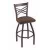 "820 Catalina 36"" Bar Stool with Pewter Finish, Axis Truffle Seat, and 360 swivel"