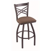 "820 Catalina 30"" Bar Stool with Pewter Finish, Axis Willow Seat, and 360 swivel"