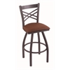 "Holland Bar Stool Co. 820 Catalina 30"" Bar Stool with Pewter Finish, Rein Adobe Seat, and 360 swivel"