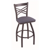 "820 Catalina 25"" Counter Stool with Pewter Finish, Rein Bay Seat, and 360 swivel"
