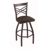 "820 Catalina 25"" Counter Stool with Pewter Finish, Rein Coffee Seat, and 360 swivel"