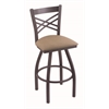 "820 Catalina 30"" Bar Stool with Pewter Finish, Rein Thatch Seat, and 360 swivel"