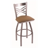 "820 Catalina 36"" Bar Stool with Stainless Finish, Allante Beechwood Seat, and 360 swivel"