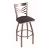 "820 Catalina 30"" Bar Stool with Stainless Finish, Allante Dark Blue Seat, and 360 swivel"