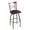 "820 Catalina 30"" Bar Stool with Stainless Finish, Allante Espresso Seat, and 360 swivel"