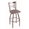 "820 Catalina 25"" Counter Stool with Stainless Finish, Allante Medium Grey Seat, and 360 swivel"