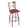 "820 Catalina 30"" Bar Stool with Stainless Finish, Allante Wine Seat, and 360 swivel"