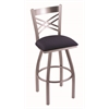 "820 Catalina 30"" Bar Stool with Stainless Finish, Axis Denim Seat, and 360 swivel"