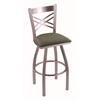 "820 Catalina 30"" Bar Stool with Stainless Finish, Axis Grove Seat, and 360 swivel"