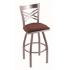 "820 Catalina 30"" Bar Stool with Stainless Finish, Axis Paprika Seat, and 360 swivel"