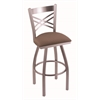 "820 Catalina 30"" Bar Stool with Stainless Finish, Axis Willow Seat, and 360 swivel"