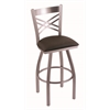 "820 Catalina 30"" Bar Stool with Stainless Finish, Rein Coffee Seat, and 360 swivel"