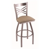 "820 Catalina 30"" Bar Stool with Stainless Finish, Rein Thatch Seat, and 360 swivel"