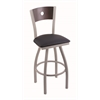 "830 Voltaire 36"" Bar Stool with Anodized Nickel Finish, Allante Dark Blue Seat, Dark Cherry Maple Back, and 360 swivel"