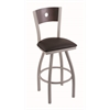 "830 Voltaire 30"" Bar Stool with Anodized Nickel Finish, Allante Espresso Seat, Dark Cherry Maple Back, and 360 swivel"