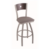 "830 Voltaire 30"" Bar Stool with Anodized Nickel Finish, Allante Dark Cherry Grey Seat, Dark Cherry Maple Back, and 360 swivel"