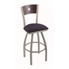"830 Voltaire 30"" Bar Stool with Anodized Nickel Finish, Axis Denim Seat, Dark Cherry Maple Back, and 360 swivel"