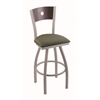 "830 Voltaire 30"" Bar Stool with Anodized Nickel Finish, Axis Grove Seat, Dark Cherry Maple Back, and 360 swivel"