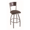 "830 Voltaire 30"" Bar Stool with Anodized Nickel Finish, Axis Truffle Seat, Dark Cherry Maple Back, and 360 swivel"