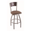 "830 Voltaire 36"" Bar Stool with Anodized Nickel Finish, Axis Willow Seat, Dark Cherry Maple Back, and 360 swivel"