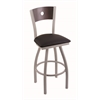 "830 Voltaire 30"" Bar Stool with Anodized Nickel Finish, Black Vinyl Seat, Dark Cherry Maple Back, and 360 swivel"