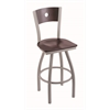 "830 Voltaire 36"" Bar Stool with Anodized Nickel Finish, Dark Cherry Maple Seat, Dark Cherry Maple Back, and 360 swivel"