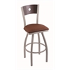 "830 Voltaire 36"" Bar Stool with Anodized Nickel Finish, Rein Adobe Seat, Dark Cherry Maple Back, and 360 swivel"