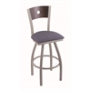 "830 Voltaire 36"" Bar Stool with Anodized Nickel Finish, Rein Bay Seat, Dark Cherry Maple Back, and 360 swivel"