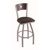 "830 Voltaire 36"" Bar Stool with Anodized Nickel Finish, Rein Coffee Seat, Dark Cherry Maple Back, and 360 swivel"