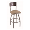"830 Voltaire 30"" Bar Stool with Anodized Nickel Finish, Rein Thatch Seat, Dark Cherry Maple Back, and 360 swivel"