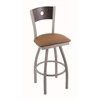 "830 Voltaire 30"" Bar Stool with Anodized Nickel Finish, Allante Beechwood Seat, Dark Cherry Oak Back, and 360 swivel"