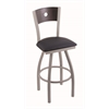 "830 Voltaire 30"" Bar Stool with Anodized Nickel Finish, Allante Dark Blue Seat, Dark Cherry Oak Back, and 360 swivel"