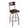"830 Voltaire 36"" Bar Stool with Anodized Nickel Finish, Allante Espresso Seat, Dark Cherry Oak Back, and 360 swivel"