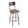 "830 Voltaire 30"" Bar Stool with Anodized Nickel Finish, Allante Dark Cherry Grey Seat, Dark Cherry Oak Back, and 360 swivel"