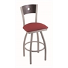 "830 Voltaire 36"" Bar Stool with Anodized Nickel Finish, Allante Wine Seat, Dark Cherry Oak Back, and 360 swivel"