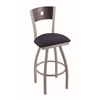 "830 Voltaire 30"" Bar Stool with Anodized Nickel Finish, Axis Denim Seat, Dark Cherry Oak Back, and 360 swivel"
