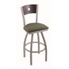 "830 Voltaire 30"" Bar Stool with Anodized Nickel Finish, Axis Grove Seat, Dark Cherry Oak Back, and 360 swivel"
