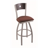 "830 Voltaire 36"" Bar Stool with Anodized Nickel Finish, Axis Paprika Seat, Dark Cherry Oak Back, and 360 swivel"